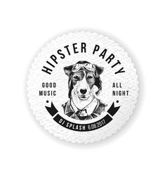 hipster party round emblem vector image