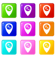 Map pointer with car parking icons 9 set vector
