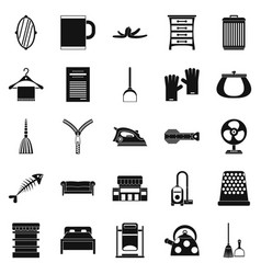 house work icons set simple style vector image