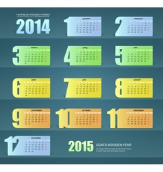 Calendar for the year 2014 paper design vector