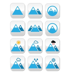Mountain buttons set colour vector