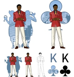 King of clubs afroamerican male party host with vector