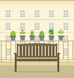 Empty wooden park chair at balcony vector
