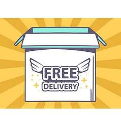 Open box with icon of free delivery on o vector