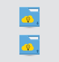 Cloud download and upload icon 15 vector image