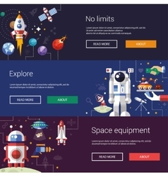 Set of flat design flyers and headers with space vector