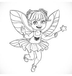Cute little fairy girl with a magic wand outlined vector