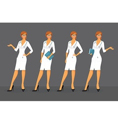 Woman doctor in various poses vector image