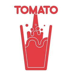 Tomato juice glass spray fresh tomato juice vector