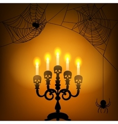 Candle light and spider webs vector