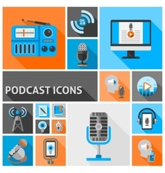 Podcast icons flat vector