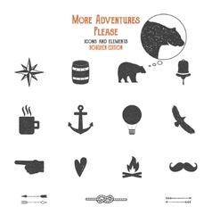 Outdoor icons and elements set for creation hiking vector