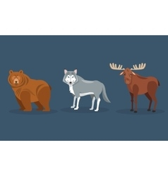 Bear wolf and moose icons image vector