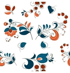 Berry and flowers in russian style vector