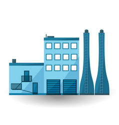 blue factory flat industry plant vector image vector image