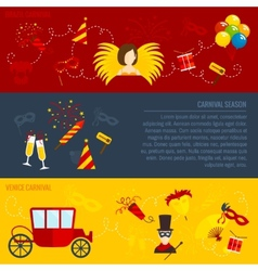 Carnival flat banners set vector image