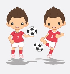 cartoon of soccer red player vector image