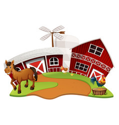 Farm scene with farm animals vector