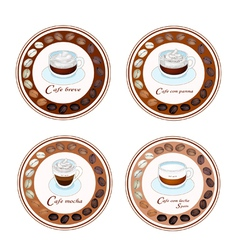 Four Type of Coffee Beverage in Retro Round Label vector image
