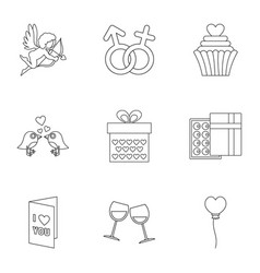 Gift for valentine icons set outline style vector