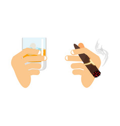 hand and whiskey with ice glass of scotch bourbon vector image