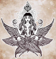 Hand drawn romantic six winged magic angel girl vector