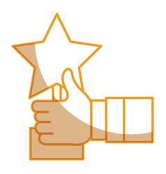 Hand human with trophy star isolated icon vector