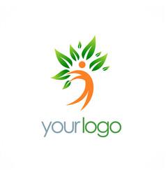 happy man green leaf tree logo vector image