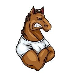 Horse mascot team label design vector