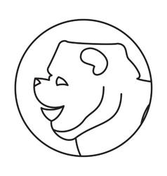 Line head dog in round vector