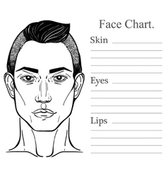 Male face chart make up artist blank vector image