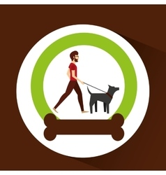 Man bearded walking a gray dog vector