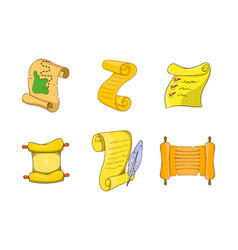 papyrus icon set cartoon style vector image