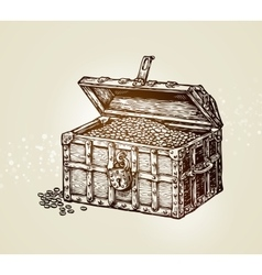 Pirate treasure chest with golden coins vector