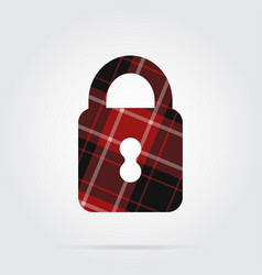 Red black tartan isolated icon - closed padlock vector
