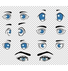 Set of different human and anime eyes cartoon vector