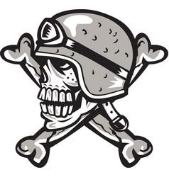 Skull bones bike helmet side retro vector
