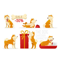 the dog cartoon characters vector image vector image