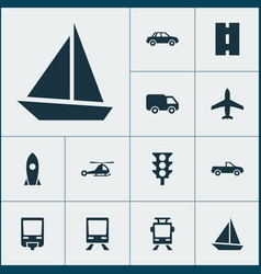 Transportation icons set collection of railway vector