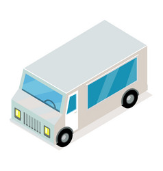 Vintage grey van isometric projection icon vector