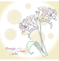 Ochre background with freesia vector image