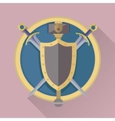 Cartoon game swords with shadow in golden circle vector