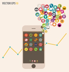 Touchscreen device with cloud of colorful vector