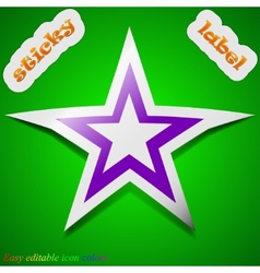 Star icon sign symbol chic colored sticky label on vector