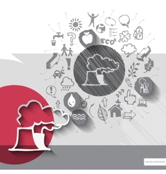 Paper and hand drawn factory emblem with icons vector image