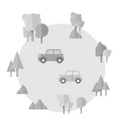 Flat cartoon cards with cars and forest icons vector