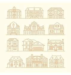 Big set houses icons elements linear style vector