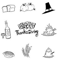 Element food thanksgiving in doodle vector
