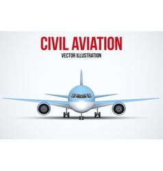Civil aircraft standing on the chassis vector