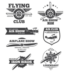 aviation badges avia club emblems vector image